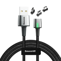 Кабель Baseus Zinc Magnetic Cable Kit (Lightning+Type-C+microUSB) 2м Чёрный